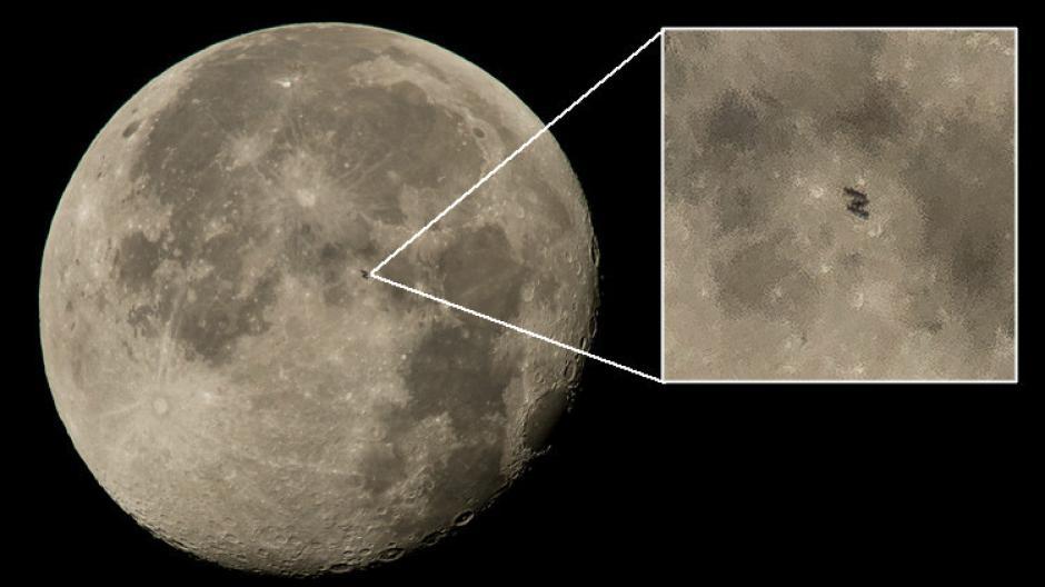 Un objeto de aproximadamente cien metros fue captado frente a la Luna y este resulto ser la Estación Espacial Internaciona