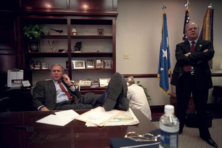 Una imagen nunca antes vista. Las horas posteriores al ataque. (Foto: Eric Draper/Biblioteca presidencial y museo George W. Bush)