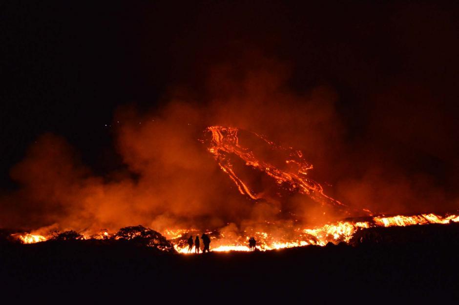 Los ríos de lava que habían alcanzado hasta los 3,000 metros de longitud han disminuido.(Foto: Wilder López/Nuestro Diario)