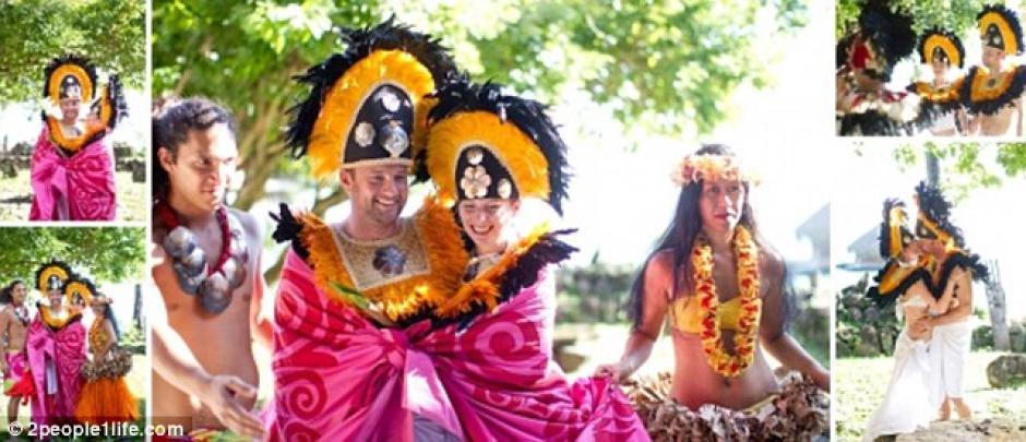 La pareja británica selló su amor en la isla de Moorea.