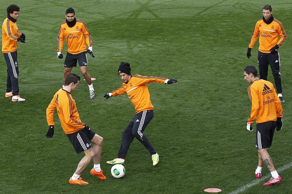 Sergio Ramos y Ronaldo fueron los últimos en incorporarse al grupo en la última sesión previa al encuentro ante el Osasuna