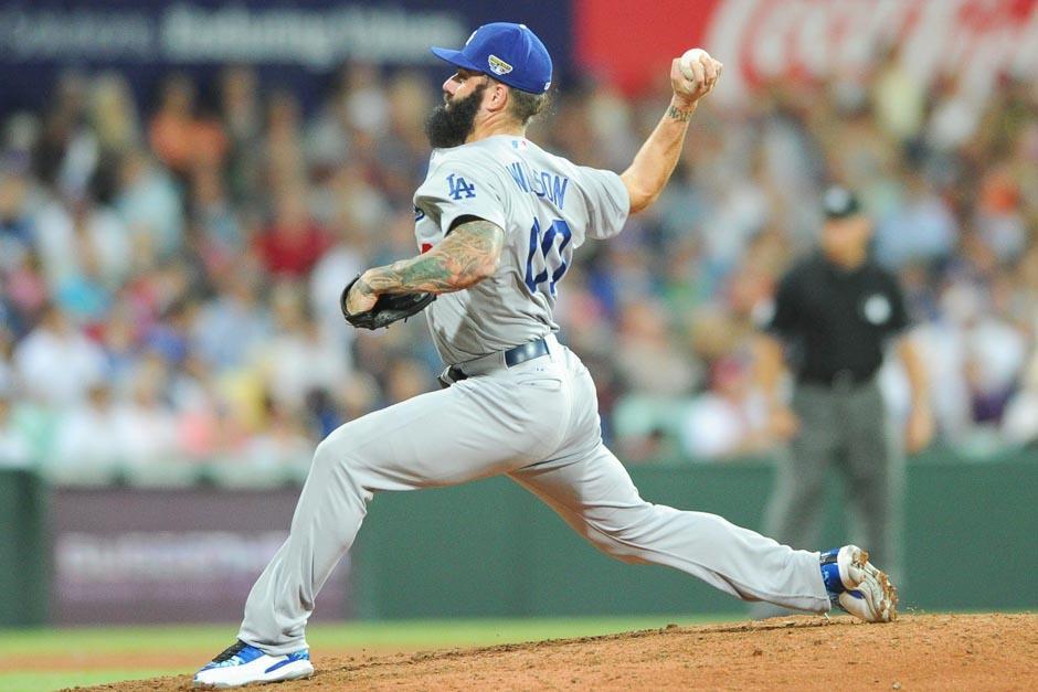 Brian Wilson fue uno de los lanzadores de los Dodgers en Australia
