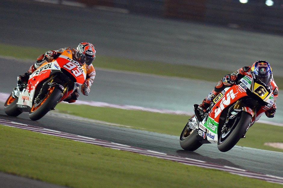 Durante gran parte de la carrera Marc Márquez tuvo en Stefan Bradl su más fuerte rival