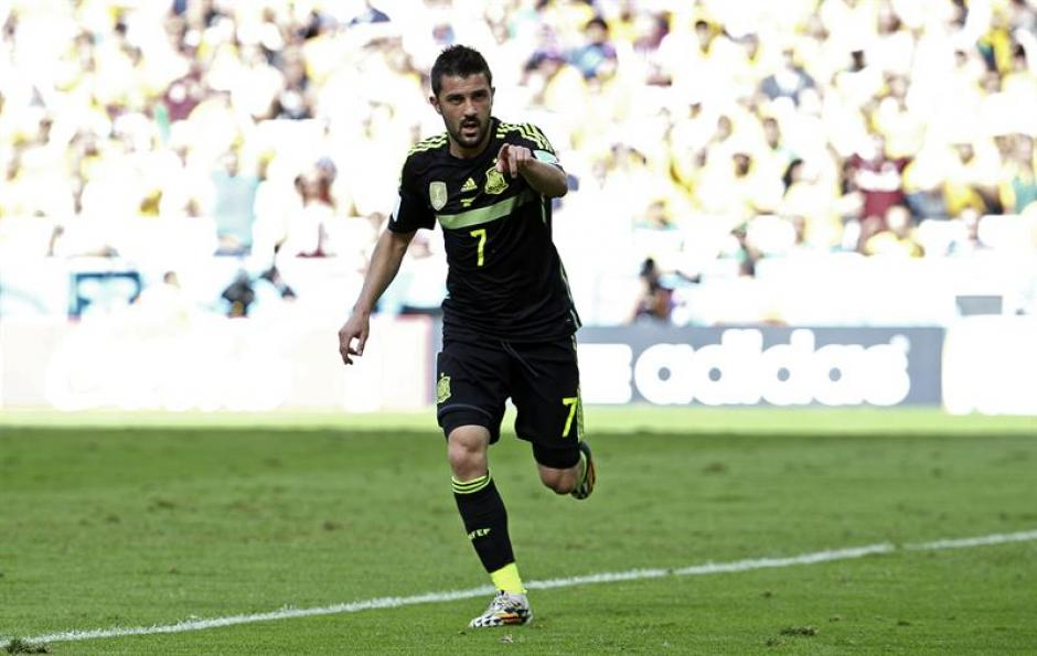 David Villa abrió el marcador con un gol de taco en el minuto 36. (Foto: EFE)