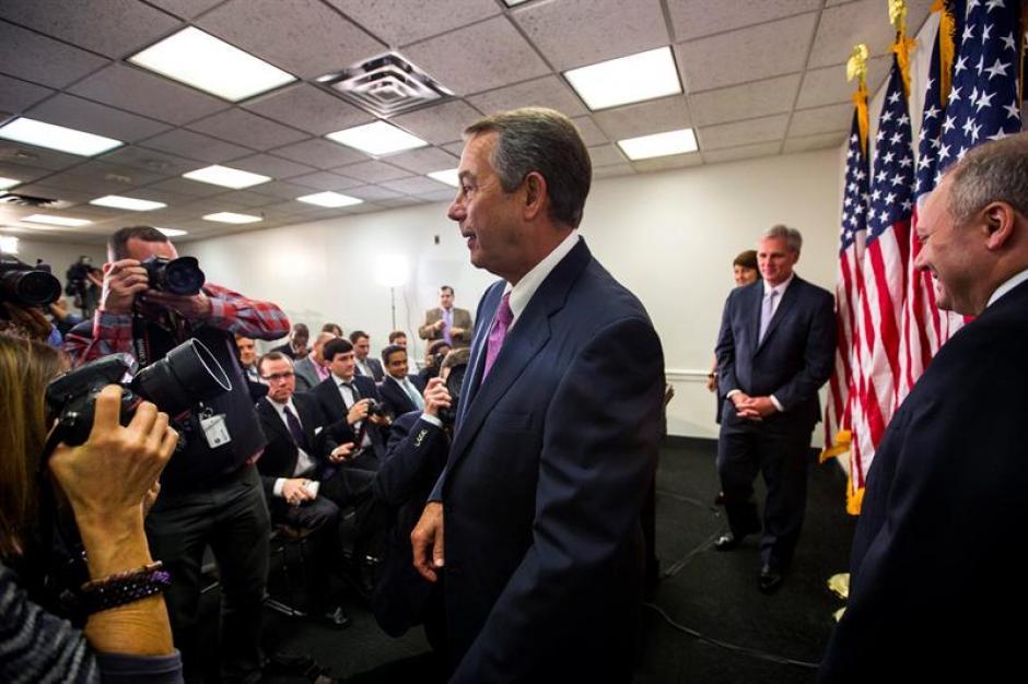 El hasta ayer presidente de la Cámara de Representantes, el republicano John Boehner durante la rueda de prensa republicana celebrada en Washington. (Foto: EFE)