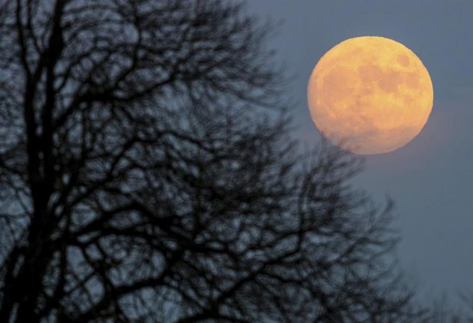 La luna casi en su fase llena ilumina el cielo de Sieversdorf, Alemania, la Nochebuena. (Foto EFE)
