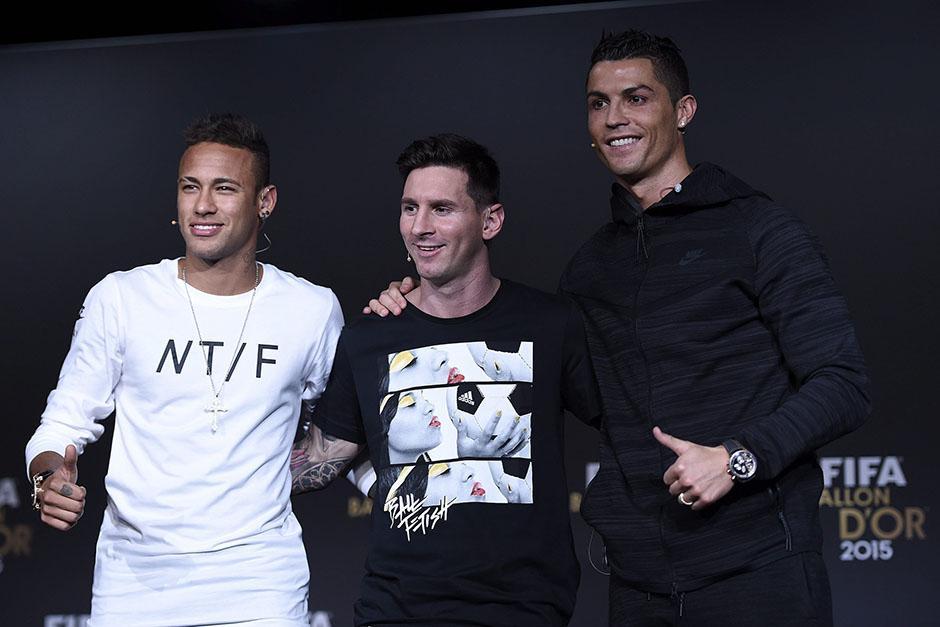 Los tres nominados a Balón de Oro: Neymar, Messi y Cristiano Ronaldo.(Foto: EFE)