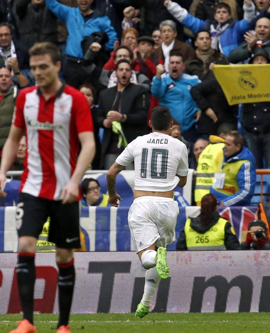 James Rodríguez volvió a anotar con el Madrid, hizo el segundo ante el Real Madrid derrotó al Athletic de Bilbao. (Foto: EFE)