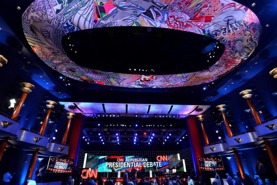Vista general del escenario donde se desarrolló el debate Presidencial de las Primarias Republicanas CNN. (Foto: EFE)