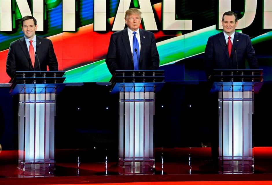 Marco Rubio, Donald Trump, Ted Cruz.  (Foto: EFE)