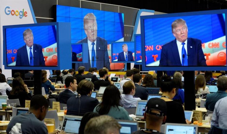 Centro de medios instalado por CNN para el Debate Presidencial de las Primarias Republicanas CNN. (Foto: EFE)