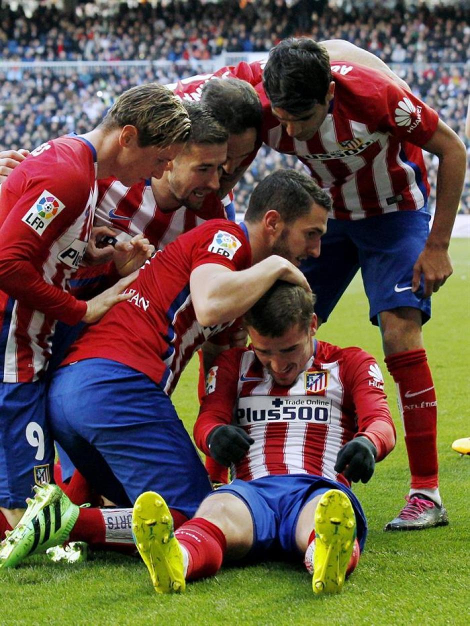 El Atlético celebró con todo el único gol del partido. (Foto: EFE)