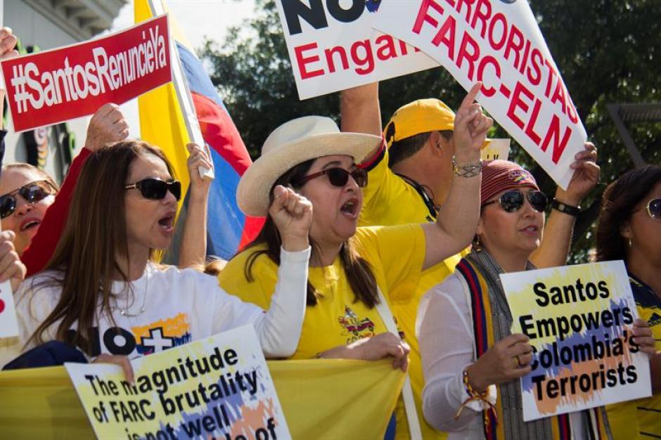 Otras protestas se registraron en Estados Unidos contra el presidente de Colombia. (Foto: EFE)