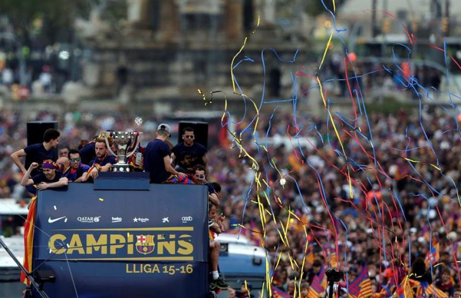 El Barcelona celebró su título en la Liga de España. (Foto: EFE)