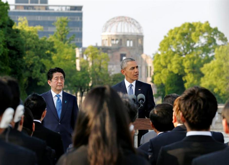 El presidente de Estados Unidos, Barack Obama , ofreció un discurso junto al primer ministro nipón, Shinzo Abe. (Foto: Efe)
