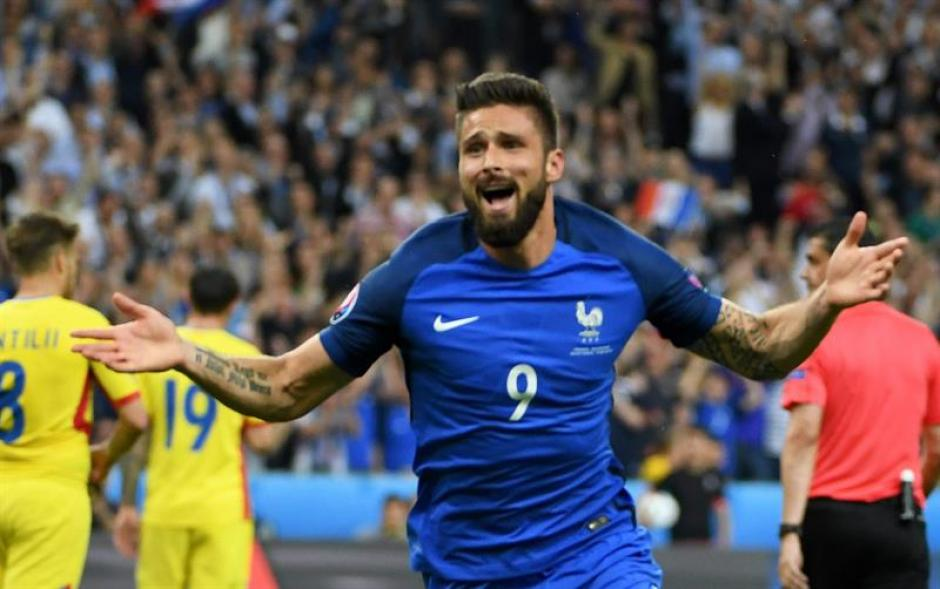 Giroud marcó el primer gol de la Eurocopa 2016. (Foto: EFE)