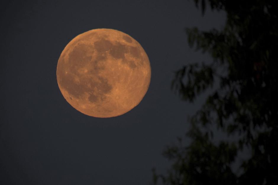 """La luna llena cerca de Nagykanizsa, a 208 kilómetros al suroeste de Budapest (Hungría) anoche. Al atardecer, la luna toma un color rojizo, un fenómeno natural conocido como """"Luna de fresa"""". (Foto: EFE/Szilard Gergely)"""