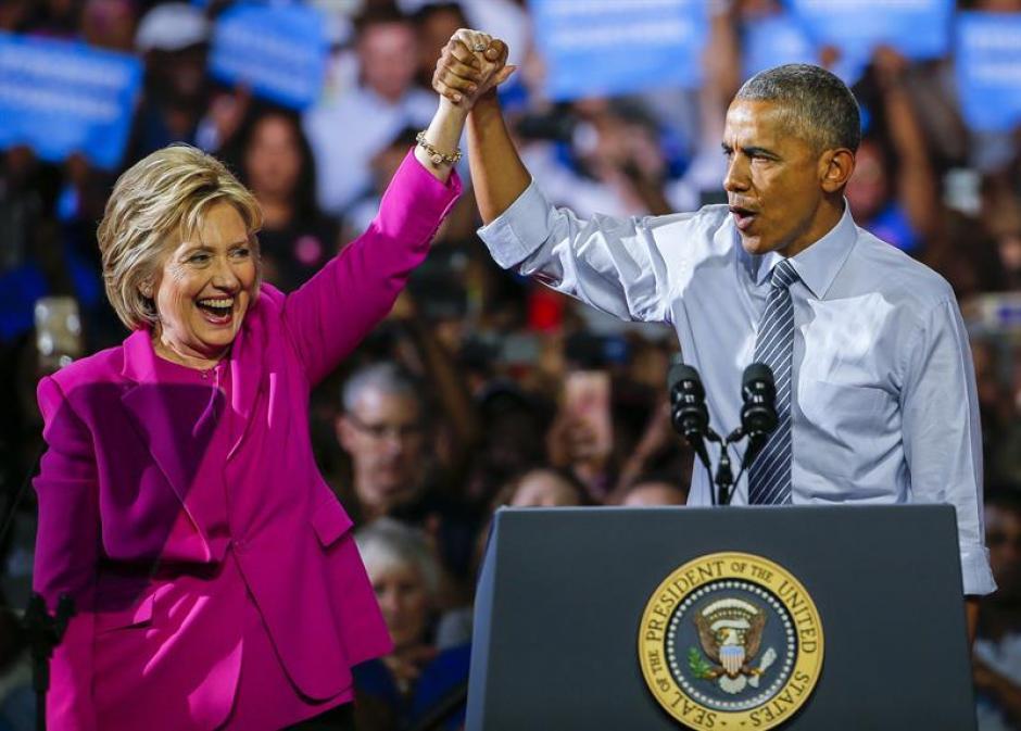 Por primera vez en campaña apareció Obama con Hillary. (Foto: EFE)