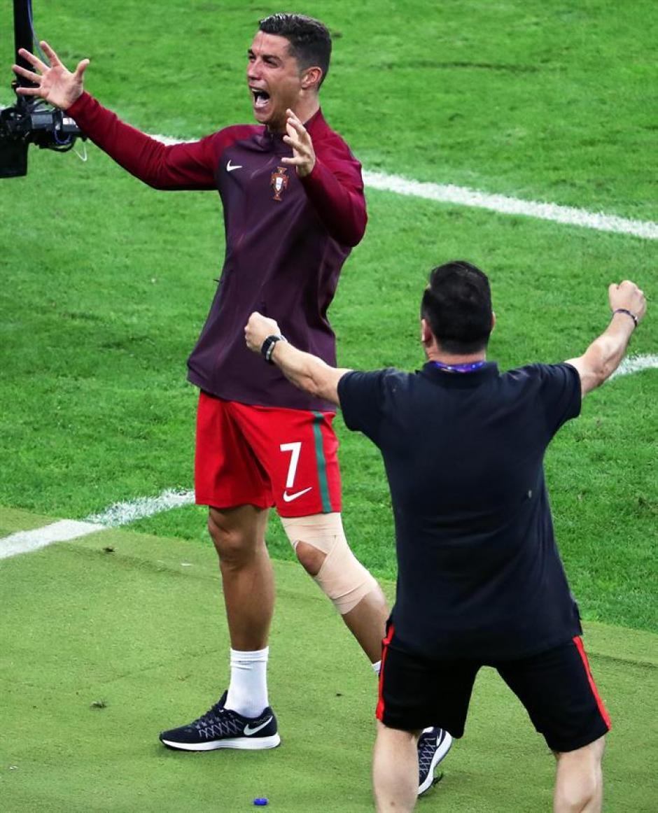 Así celebró Cristiano al final del partido (Foto: EFE)