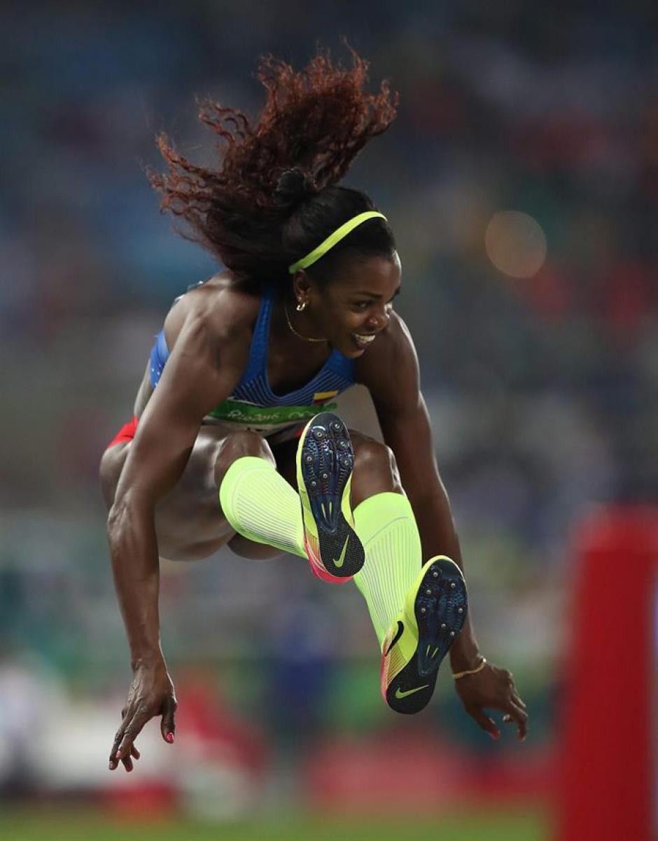 El salto de oro de Ibarguen llegó en el cuarto intento. (Foto: EFE)