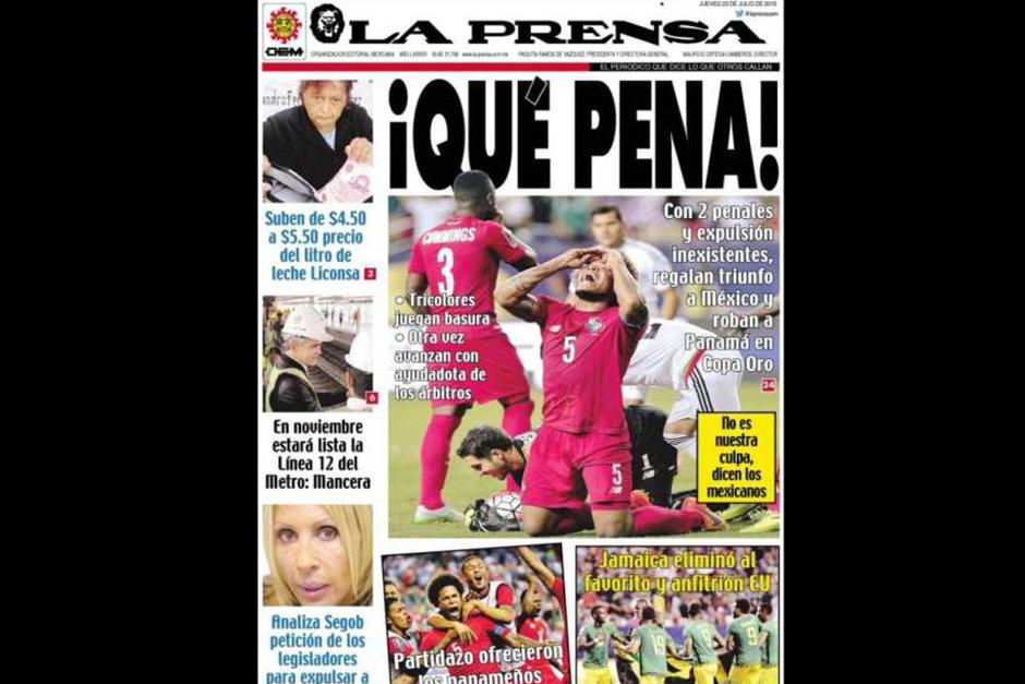 """""""La Prensa"""" de México también puso el resultado del juego en su portada. (Foto: diez.hn)"""