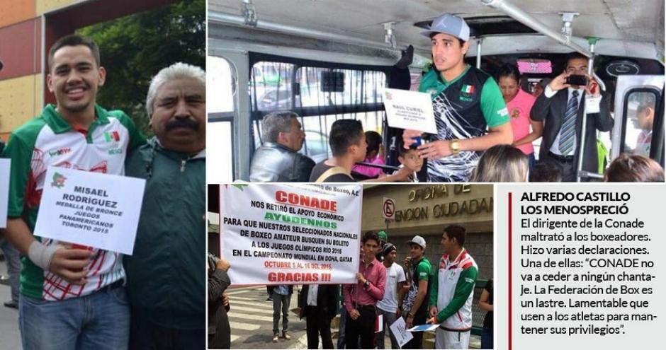 Los boxeadores mexicanos salieron a pedir dinero a las calles para pagar su preparación. (Foto: Twitter)