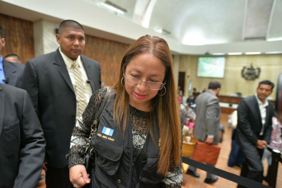 La subdirectora del Sistema Penitenciario, Ninfa Gómez asistió a la jornada 12 de la audiencia de primera declaración por el caso Cooptación del Estado. (Foto: Wilder López/Soy502)