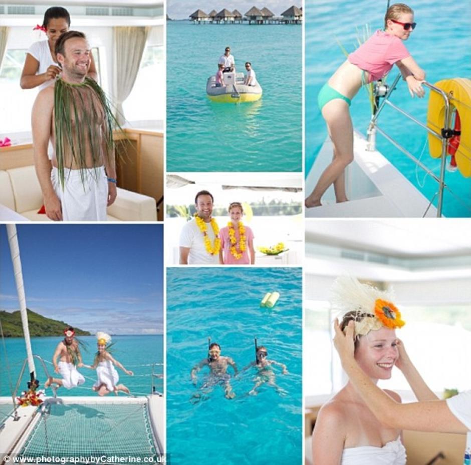 Solo con un yate y una capilla de canoa, Lisa y Alex se casaron en Bora Bora.