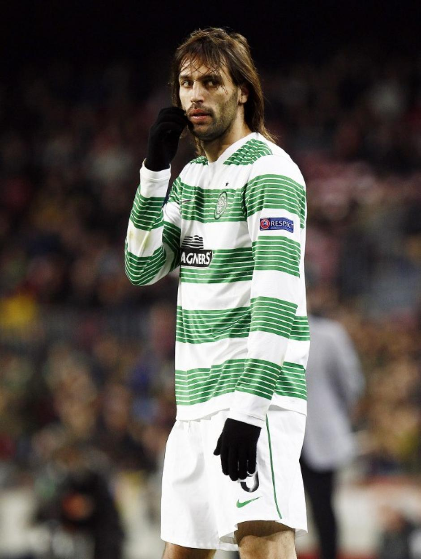 Georgios Samaras anotó el gol del descuento del Celtic que quedó eliminado de la siguiente fase de la Champions. (Foto: Quique García/AFP)
