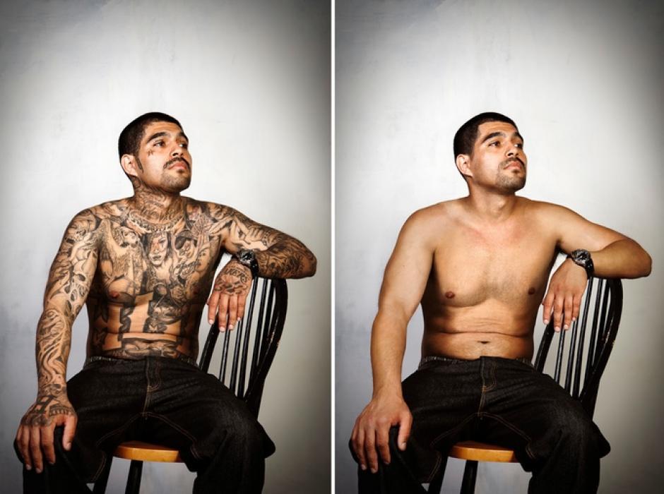"""Le voy a regalar esta foto a mi abuela. La primera vez que vio mis tatuajes, lloró"", Samuel González. (Foto: Steven Burton)"