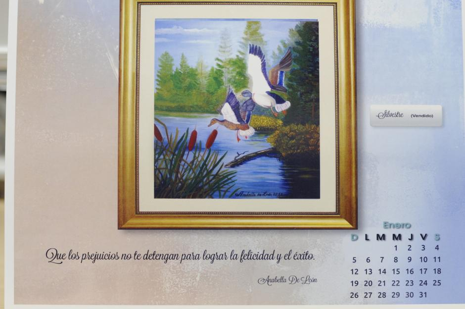 """Esta obra, titulada """"Silvestre"""" y registrada con la etiqueta de """"vendido"""", engalana la página de enero. Fue vendida y se muestra, como todas las demás sobre máximas y aforismos redactados por la pintora."""
