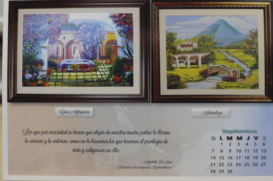 Los paisajes también inspiran a la Registradora de la Propiedad, quien dedicó estas obras y su respectivo aforismo a los migrantes guatemaltecos. (Foto: Esteban Biba/Soy502).