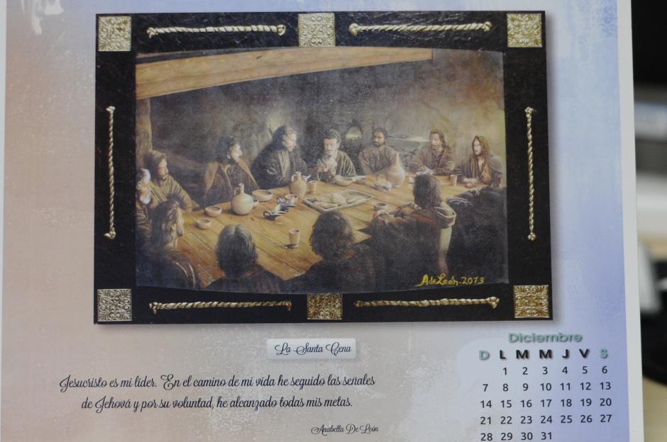 Muchas de las obras de Anabella de León varían en estilo, pero ésta en particular, una Santa Cena colocada en el mes de diciembre, destaca por sus diferencias técnicas. (Foto: Esteban Biba/Soy502).