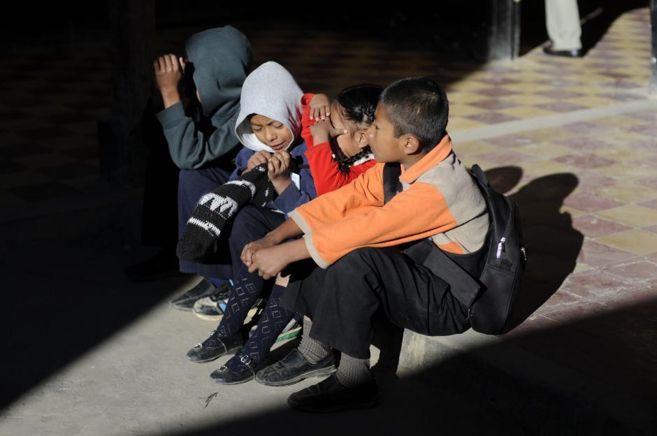 La mayoría de los alumnos en la escuela Lo de Mejía II, en San Juan Sacatépequez sufren de desnutrición. (Esteban Biba/Soy502)