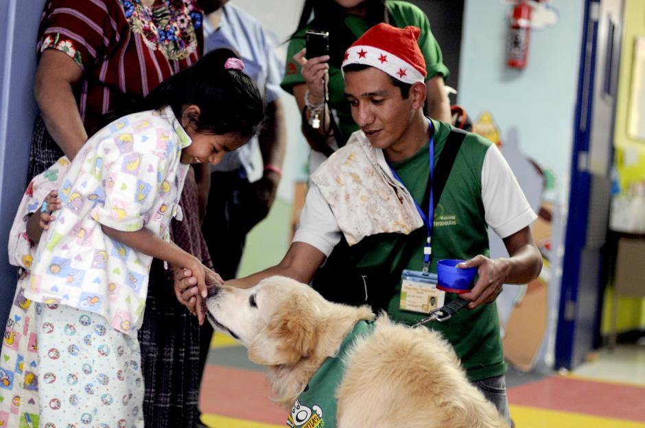 Juan Pablo González y su perro Coqui llevan cuatro años visitando a los niños y niñas del Hospital San Juan de Dios. (Esteban Biba/Soy502)
