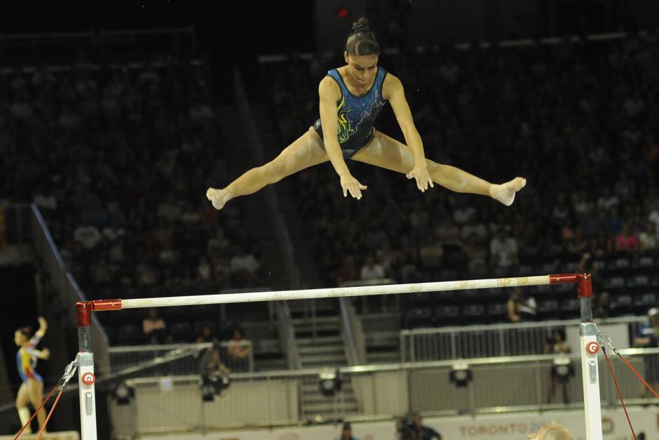 Ana Sofía Gómez tuvo una puntuación de 14.250 tras su participación en barras asimétricas. (Foto: Pedro Mijangos/Soy502)