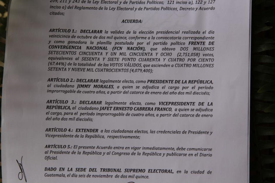 Jimmy Morales fue declarado oficialmente electo Presidente de Guatemala para el período de 2016 a 2020. (Foto: Fredy Hernández/Soy502)