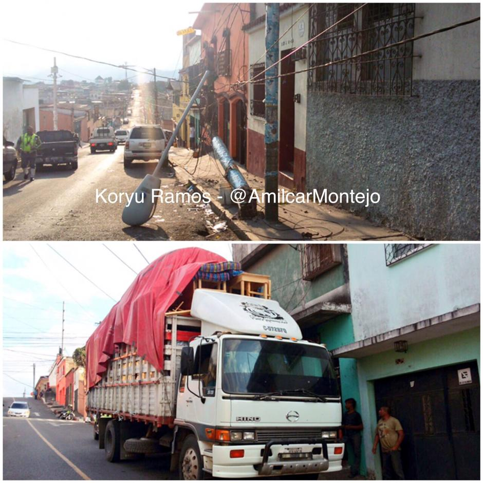 Un camión destruyó un poste y provocó fallas en el servicio de energía eléctrica. (Foto: Amílcar Montejo)