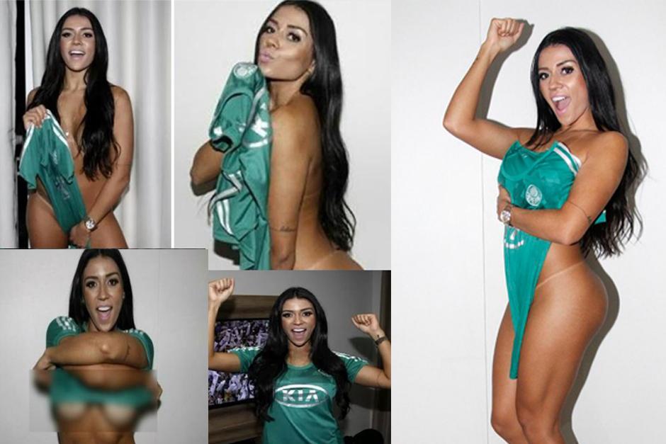 La candente modelo brasileña Cintia Vallentim se desnudó para festejar el título de Palmeiras. (Foto: Cintia Vallentim)