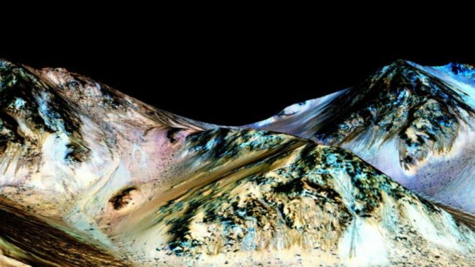 El 27 de septiembre, la NASA divulga una serie de fotografías con lo cual confirma la existencia de agua líquida en Marte. (Foto: bbc.com)