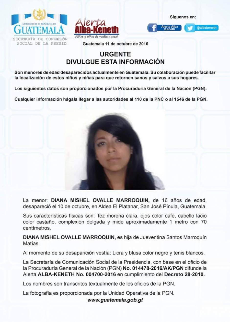 Diana Mishel Ovalle Marroquín es una de las adolescentes buscadas. (Imagen: Twitter/Alerta Alba Keneth)