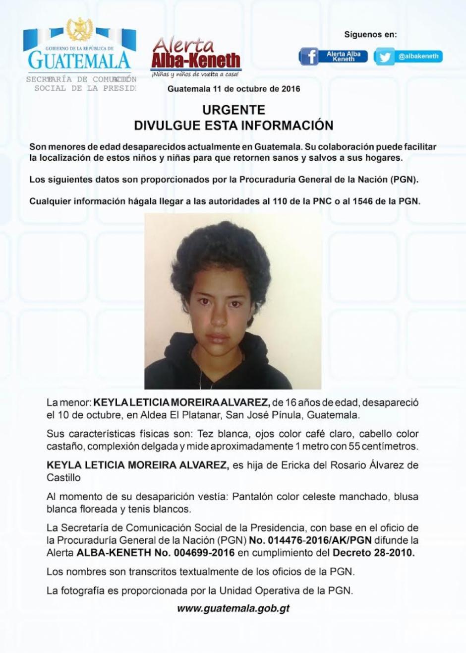 Por Keyla Leticia Moreira Álvarez, también se activó una alerta. (Imagen: Twitter/Alerta Alba Keneth)
