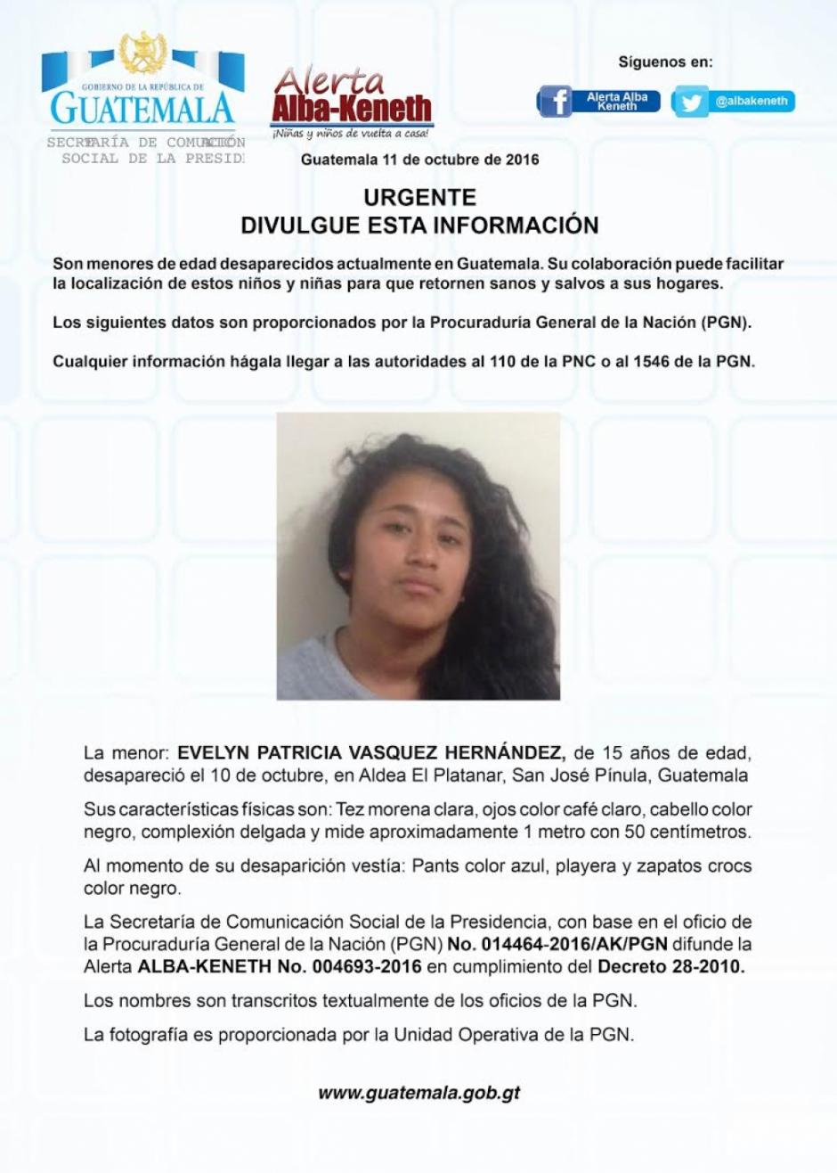 Evelyn Patricia Vásquez Hernández es otra de las adolescentes fugadas. (Imagen: Twitter/Alerta Alba Keneth)