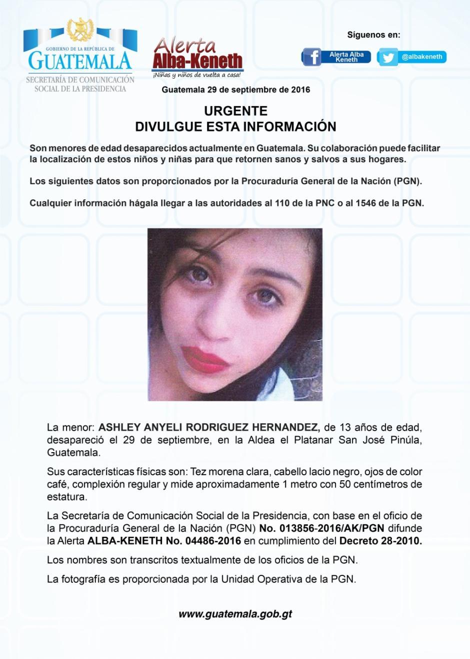 Ashley Anyeli Rodriguez Hernández también se dio a la fuga. (Imagen: Twitter/Alerta Alba Keneth)