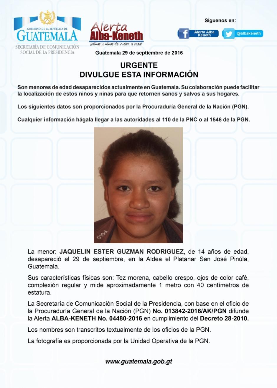 Las autoridades también buscan a Jaquelin Ester Guzmán Rodríguez. (Imagen: Twitter/Alerta Alba Keneth)