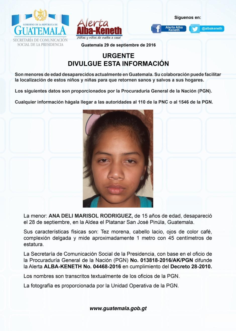 Ana Deli Marisol Rodríguez de 15 años, también es buscada por las autoridades. (Imagen: Twitter/Alerta Alba Keneth)