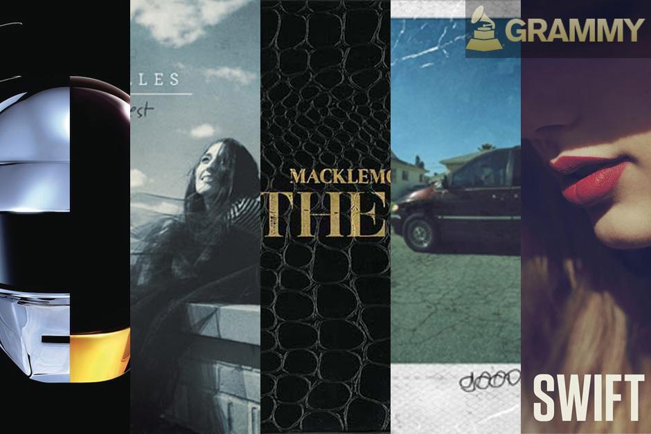 "Y los nominados a Álbum del año son:""Random Access Memories"" - Daft Punk,""The Blessed Unrest"" - Sara Bareilles,""The Heist"" - Macklemore & Ryan Lewis,""Good Kid M.A.A.D City"" - Kendrick Lamar, y""Red"" - Taylor Swift."