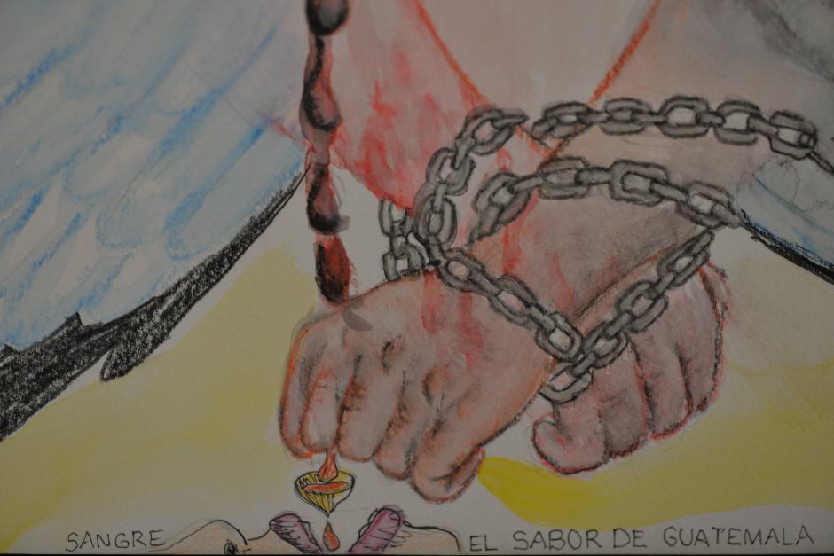 Las pinturas se basaorn en poesía de Carolina Escobar Sarti, Sabino Esteban y Wingston González. (Foto: Wilder López/Soy502)