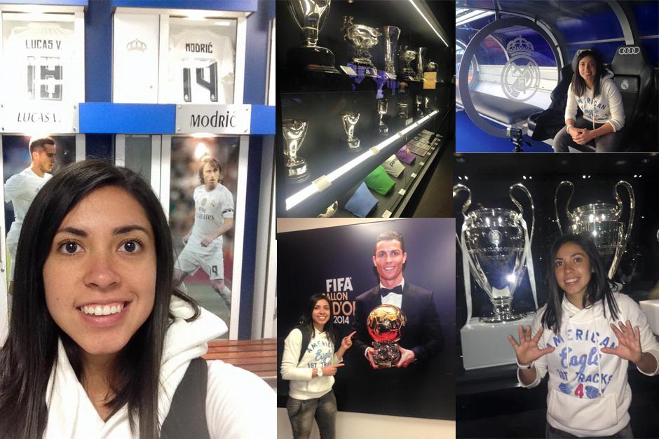 La futbolista guatemalteca, Ana Lucía Martínez, comparte sus fotos en su toput por el estadio Santiago Bernabéu. (Foto: Ana Lucía Martínez)