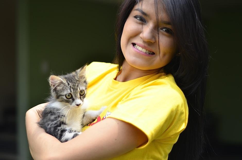 Alejandra Villela convive con unos de los gatitos rescatados por Comunidad Gatuna. (Foto: Selene Mejía/Soy502)